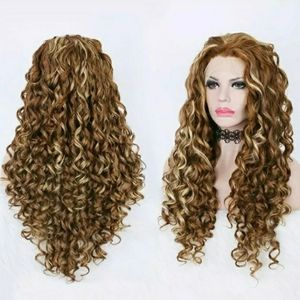 Imstyle Wig Red with Highlights Long Loose Curly L